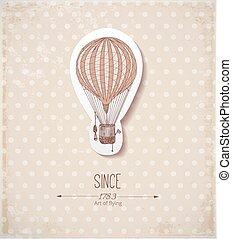 ouderwetse , balloon, beige, kaart
