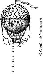 ouderwetse , balloon, ladder