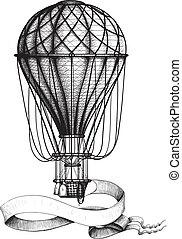 ouderwetse , balloon, spandoek, hete lucht