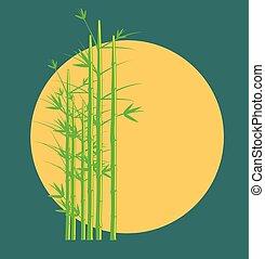 ouderwetse , bamboe, vector, boompje