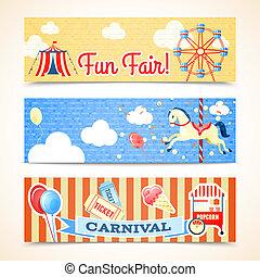ouderwetse , banieren, horizontaal, carnaval