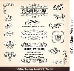 ouderwetse , banieren, ontwerp, calligraphic