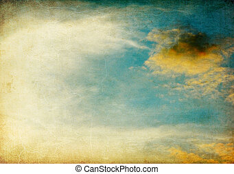 ouderwetse , beeld, hemel, achtergrond.