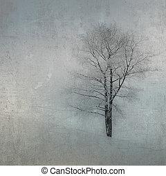 ouderwetse , beeld, van, een, boompje, op, grunge, achtergrond