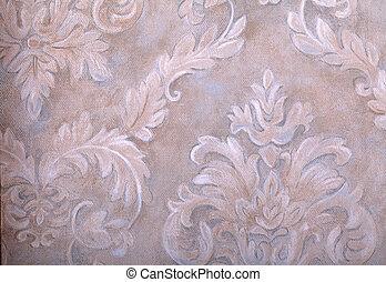 ouderwetse , behang, met, vignet, victoriaans, model