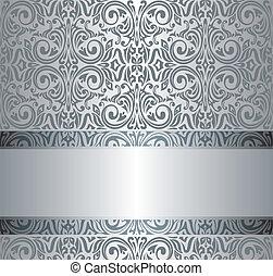 ouderwetse , behang, zilver