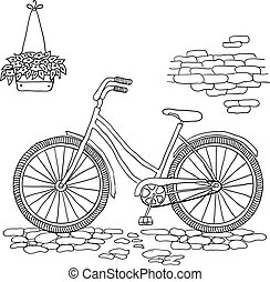 ouderwetse , bicycle., vector, illustration.
