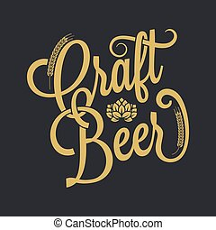 ouderwetse , bier, achtergrond, lettering