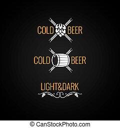 ouderwetse , bier, set, achtergrond, logo
