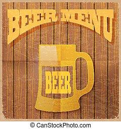 ouderwetse , bier, vector, menu.