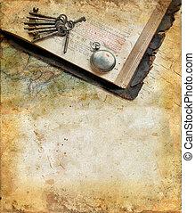 ouderwetse , bijbel, horloge, sleutels, en, kaart, op, een,...