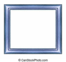 ouderwetse , blauwe , frame, met, lege ruimte, en, knippend pad