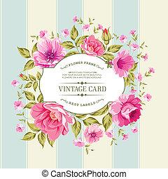 ouderwetse , bloem, card., etiket