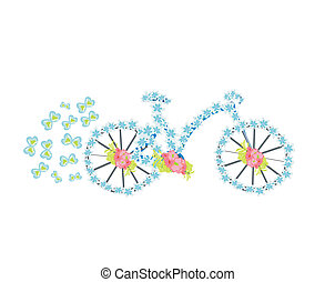 ouderwetse , bloem, fiets, illustratie