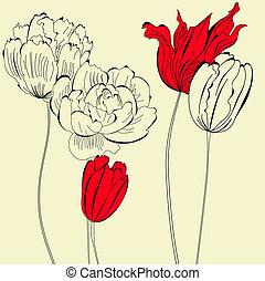 ouderwetse , bloemen, achtergrond