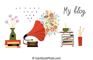 ouderwetse , blog, voorwerpen, muziek, grammofoon, spandoek
