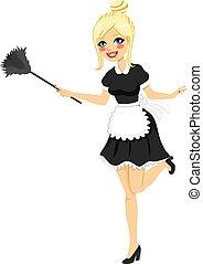 ouderwetse , blonde, poetsen, maid