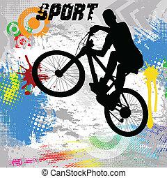 ouderwetse , bmx, fietser, poster
