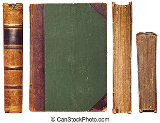 ouderwetse , boek, kanten, set, -, ruggegraat, eerst,...