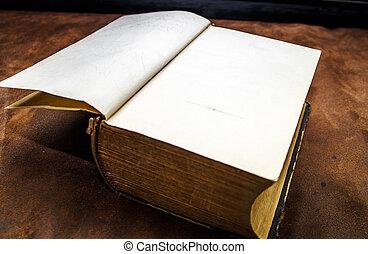 ouderwetse , boek, oud, pagina's, leeg
