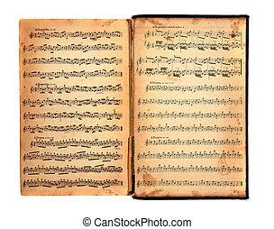 ouderwetse , boek, van, muziek