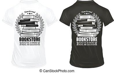 ouderwetse , boekhandel, afdrukken, op, overhemden, mal