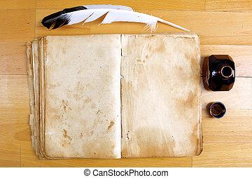 ouderwetse , boodschap, boek, met, veerpen, en, inkwell, op,...
