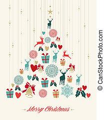ouderwetse , boompje, kerstmis, dennenboom, achtergrond