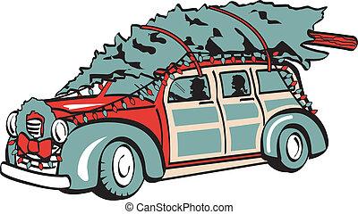 ouderwetse , boompje, retro, kerstmis, auto