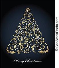 ouderwetse , boompje, retro, versieringen, kerstmis