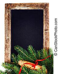 ouderwetse , bord, met, kerstboom, tak, vrijstaand, op wit