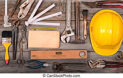 ouderwetse , bouwsector, gereedschap, achtergrond
