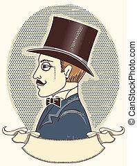 ouderwetse , bovenzijde, heer, black , tekst, hat.vector,...