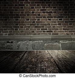 ouderwetse , brickwall, achtergrond