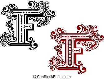 ouderwetse , brief f, met, decorative elements