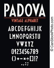 ouderwetse , brieven, getallen, orthographic, alfabet, signs., retro