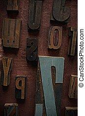 ouderwetse , brieven, op, houten, achtergrond