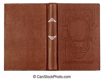 ouderwetse , bruine , boek, met, embossed, op, een,...
