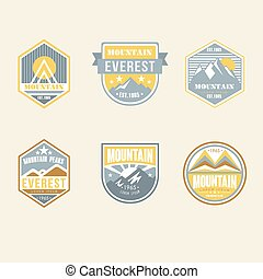 ouderwetse , buiten, kamp, kentekens, en, logo, emblems