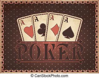 ouderwetse , casino, kaart, uitnodiging