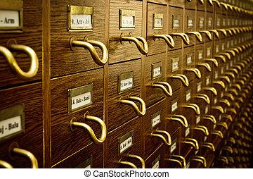 ouderwetse , catalogus, oud, de kaart van de bibliotheek