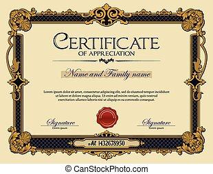 ouderwetse , certificaat, appreciatie