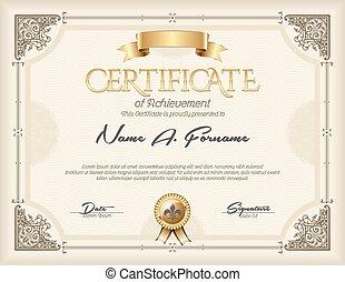 ouderwetse , certificaat, prestatie
