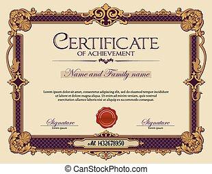 ouderwetse , certificaat, van, achievement.