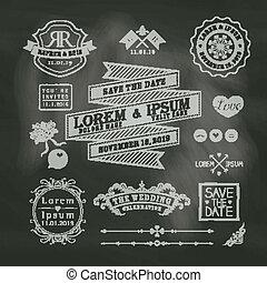 ouderwetse , chalkboard, achtergrond, trouwfeest, lijstjes, grens