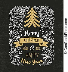ouderwetse , chalkboard, boompje, kerstmis, stijl