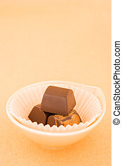 ouderwetse , chocolade, warme, achtergrond, stukken