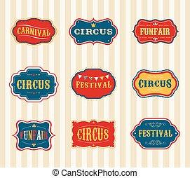 ouderwetse , circus, etiketten, set