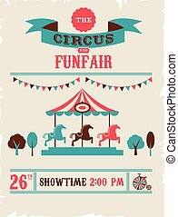 ouderwetse , circus, fair, vector, achtergrond, poster,...
