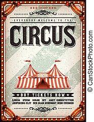 ouderwetse , circus, ontwerp, poster